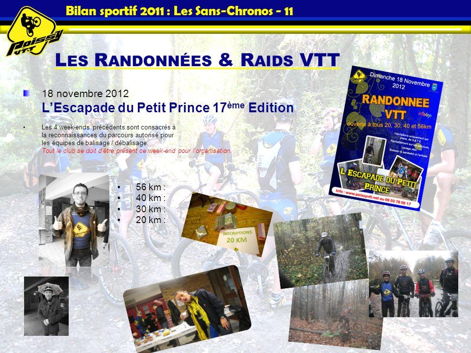 Bilan sportif 2011 : Les Sans-Chronos - 11 L ES R ANDONNÉES & R AIDS VTT 18 novembre 2012 LEscapade du Petit Prince 17 ème Edition Les 4 week-ends pré
