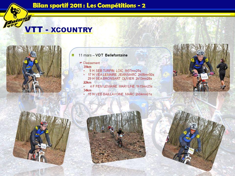 Bilan sportif 2011 : Les Compétitions - 2 VTT - XCOUNTRY 11 mars – VOT Bellefontaine Classement : 39km 8 H SEB TURPIN LOIC 1h57mn28s 17 H VEA LEMAIRE