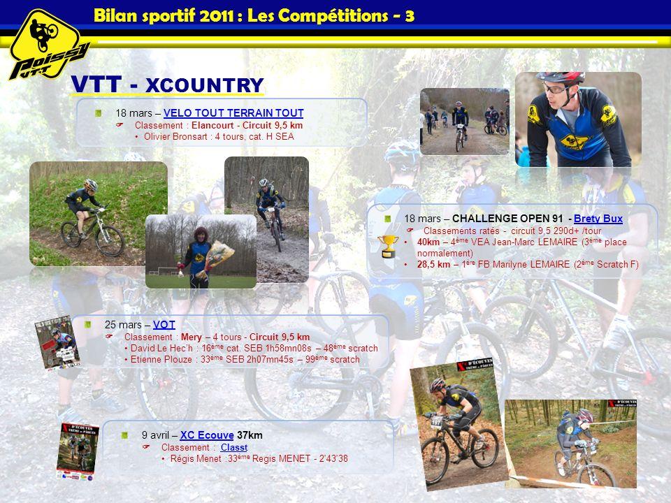 Bilan sportif 2011 : Les Compétitions - 3 VTT - XCOUNTRY 18 mars – VELO TOUT TERRAIN TOUTVELO TOUT TERRAIN TOUT Classement : Elancourt - Circuit 9,5 k