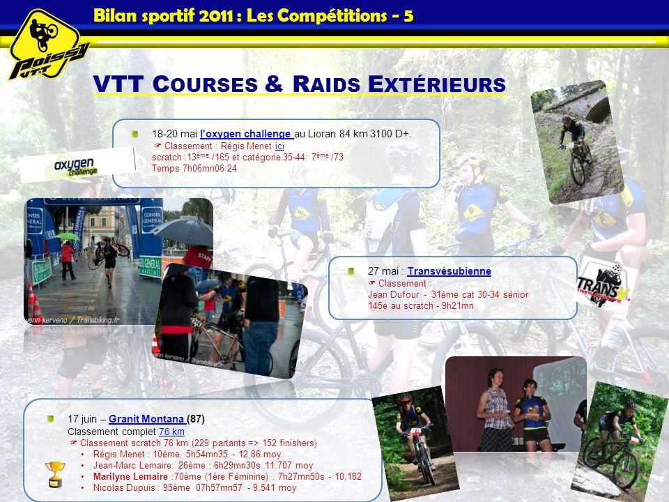 Bilan sportif 2011 : Les Compétitions - 5 VTT C OURSES & R AIDS E XTÉRIEURS 18-20 mai l'oxygen challenge au Lioran 84 km 3100 D+. Classement : Régis M