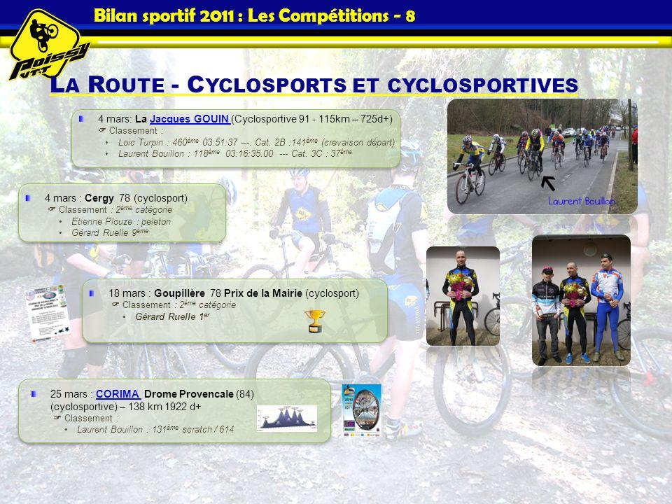 Bilan sportif 2011 : Les Compétitions - 8 L A R OUTE - C YCLOSPORTS ET CYCLOSPORTIVES 4 mars: La Jacques GOUIN (Cyclosportive 91 - 115km – 725d+) Clas