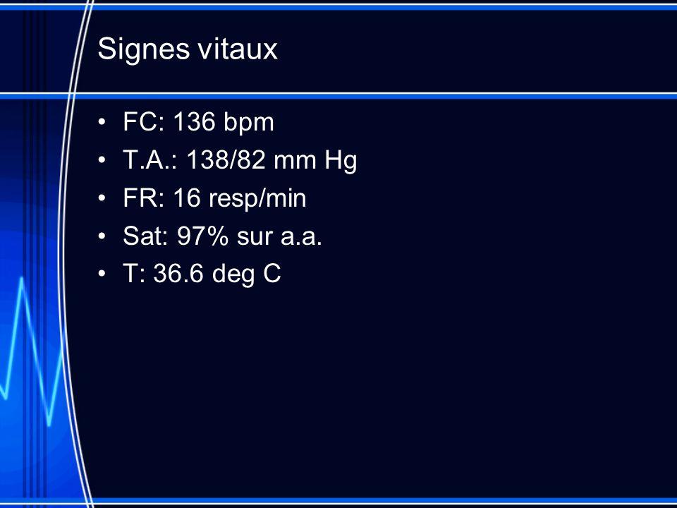 Signes vitaux FC: 136 bpm T.A.: 138/82 mm Hg FR: 16 resp/min Sat: 97% sur a.a. T: 36.6 deg C