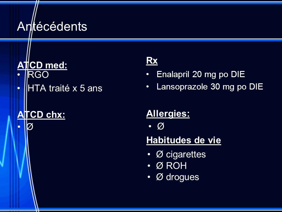 Antécédents ATCD chx: RGO HTA traité x 5 ans Rx Enalapril 20 mg po DIE Lansoprazole 30 mg po DIE ATCD med: Ø Allergies: Ø Habitudes de vie Ø cigarettes Ø ROH Ø drogues
