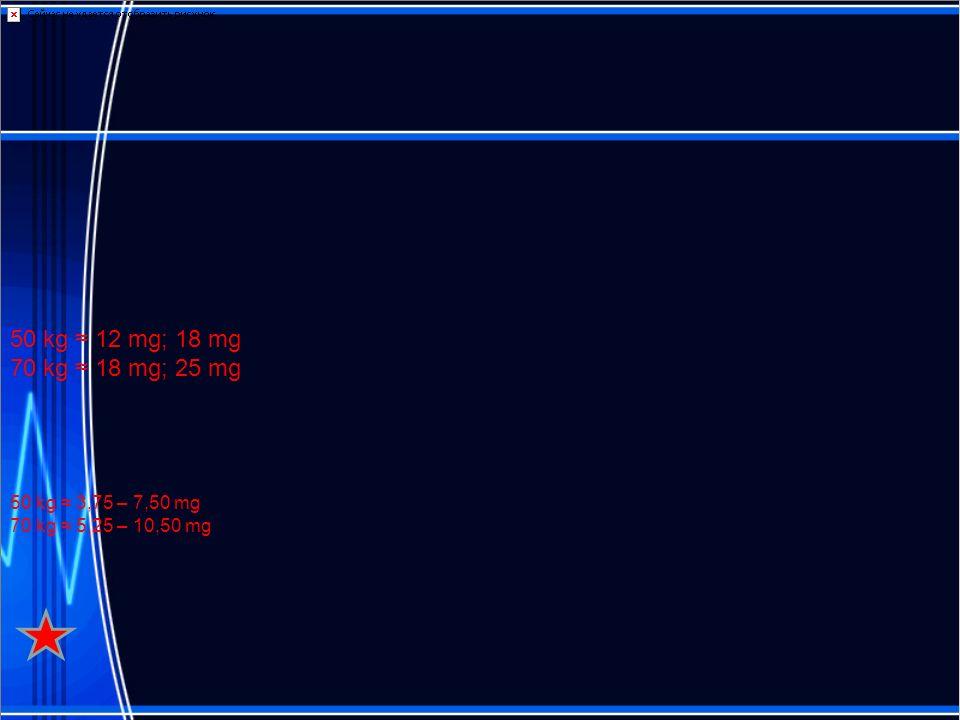 50 kg 12 mg; 18 mg 70 kg 18 mg; 25 mg 50 kg 3,75 – 7,50 mg 70 kg 5,25 – 10,50 mg