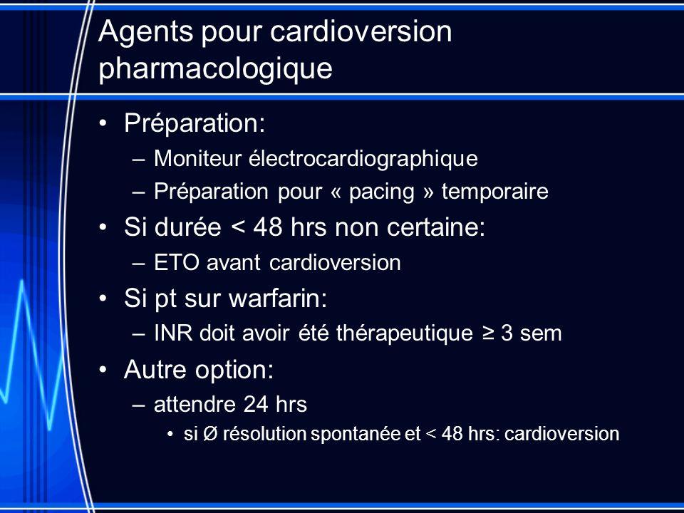 Agents pour cardioversion pharmacologique Préparation: –Moniteur électrocardiographique –Préparation pour « pacing » temporaire Si durée < 48 hrs non
