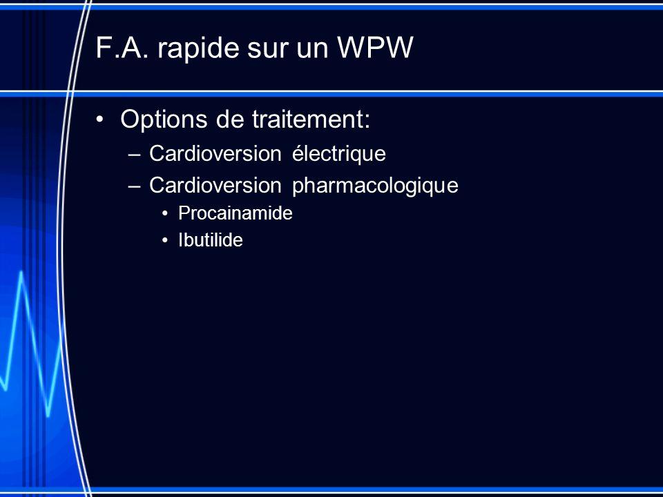 F.A. rapide sur un WPW Options de traitement: –Cardioversion électrique –Cardioversion pharmacologique Procainamide Ibutilide