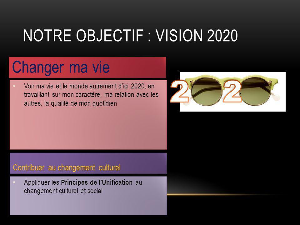 Changer ma vie Contribuer au changement culturel NOTRE OBJECTIF : VISION 2020