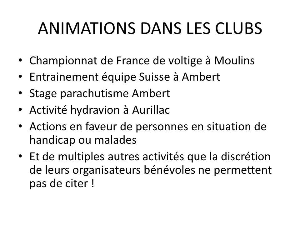 ANIMATIONS DANS LES CLUBS Championnat de France de voltige à Moulins Entrainement équipe Suisse à Ambert Stage parachutisme Ambert Activité hydravion