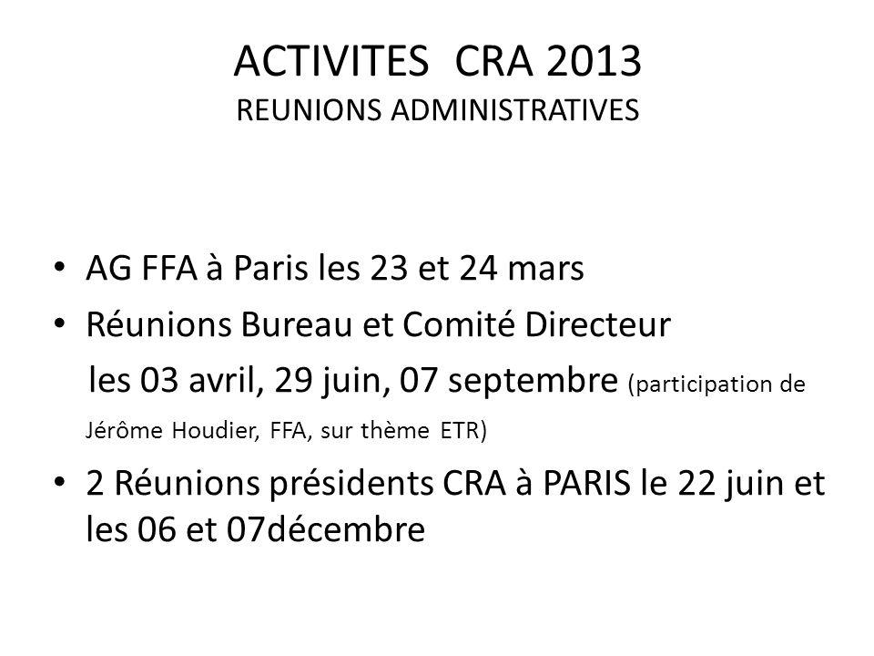 ACTIVITES CRA 2013 REUNIONS ADMINISTRATIVES AG FFA à Paris les 23 et 24 mars Réunions Bureau et Comité Directeur les 03 avril, 29 juin, 07 septembre (