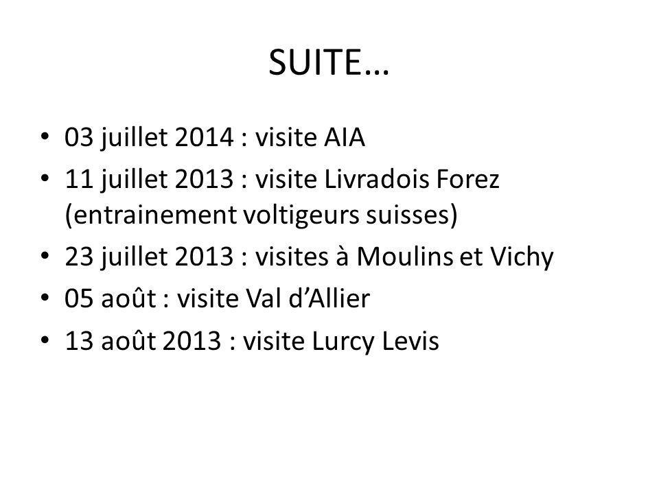 SUITE… 03 juillet 2014 : visite AIA 11 juillet 2013 : visite Livradois Forez (entrainement voltigeurs suisses) 23 juillet 2013 : visites à Moulins et Vichy 05 août : visite Val dAllier 13 août 2013 : visite Lurcy Levis