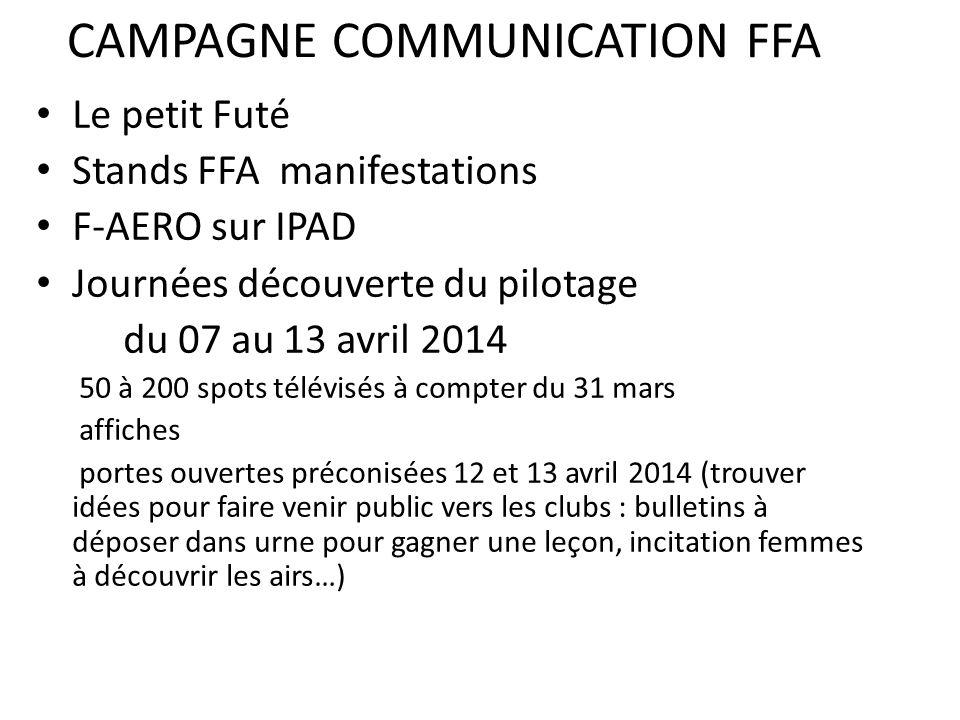 CAMPAGNE COMMUNICATION FFA Le petit Futé Stands FFA manifestations F-AERO sur IPAD Journées découverte du pilotage du 07 au 13 avril 2014 50 à 200 spo