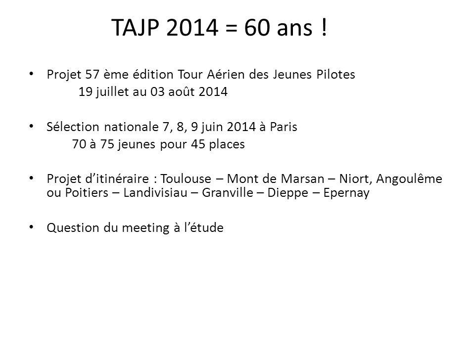 TAJP 2014 = 60 ans ! Projet 57 ème édition Tour Aérien des Jeunes Pilotes 19 juillet au 03 août 2014 Sélection nationale 7, 8, 9 juin 2014 à Paris 70