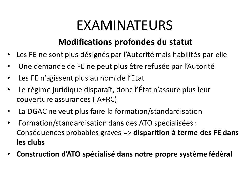 EXAMINATEURS Modifications profondes du statut Les FE ne sont plus désignés par lAutorité mais habilités par elle Une demande de FE ne peut plus être