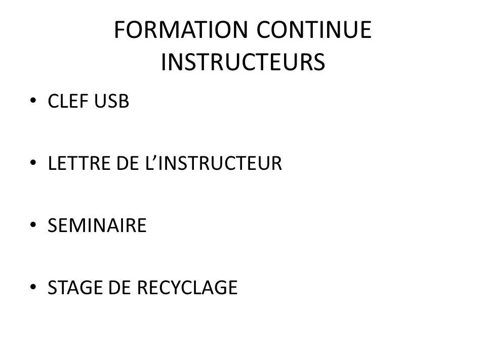 FORMATION CONTINUE INSTRUCTEURS CLEF USB LETTRE DE LINSTRUCTEUR SEMINAIRE STAGE DE RECYCLAGE