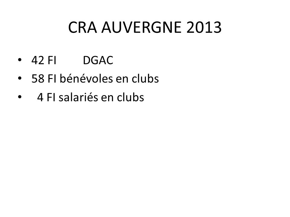 CRA AUVERGNE 2013 42 FI DGAC 58 FI bénévoles en clubs 4 FI salariés en clubs