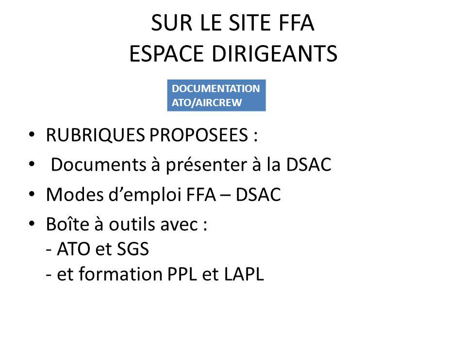 SUR LE SITE FFA ESPACE DIRIGEANTS RUBRIQUES PROPOSEES : Documents à présenter à la DSAC Modes demploi FFA – DSAC Boîte à outils avec : - ATO et SGS -