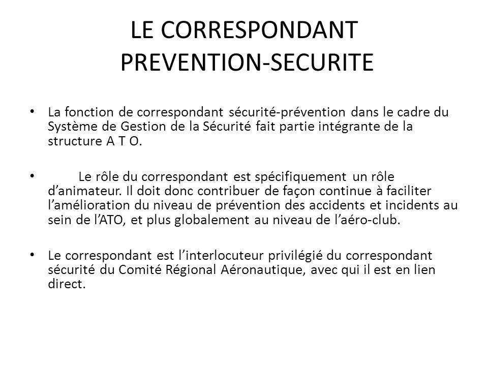 LE CORRESPONDANT PREVENTION-SECURITE La fonction de correspondant sécurité-prévention dans le cadre du Système de Gestion de la Sécurité fait partie intégrante de la structure A T O.
