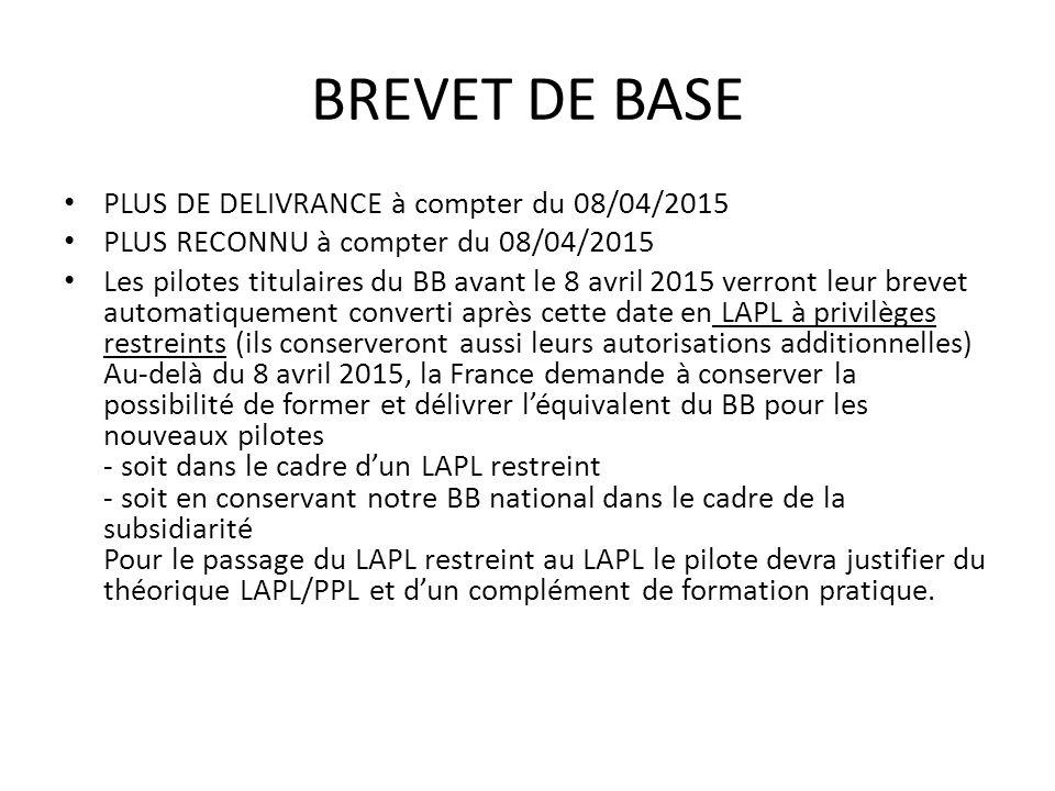 BREVET DE BASE PLUS DE DELIVRANCE à compter du 08/04/2015 PLUS RECONNU à compter du 08/04/2015 Les pilotes titulaires du BB avant le 8 avril 2015 verront leur brevet automatiquement converti après cette date en LAPL à privilèges restreints (ils conserveront aussi leurs autorisations additionnelles) Au-delà du 8 avril 2015, la France demande à conserver la possibilité de former et délivrer léquivalent du BB pour les nouveaux pilotes - soit dans le cadre dun LAPL restreint - soit en conservant notre BB national dans le cadre de la subsidiarité Pour le passage du LAPL restreint au LAPL le pilote devra justifier du théorique LAPL/PPL et dun complément de formation pratique.
