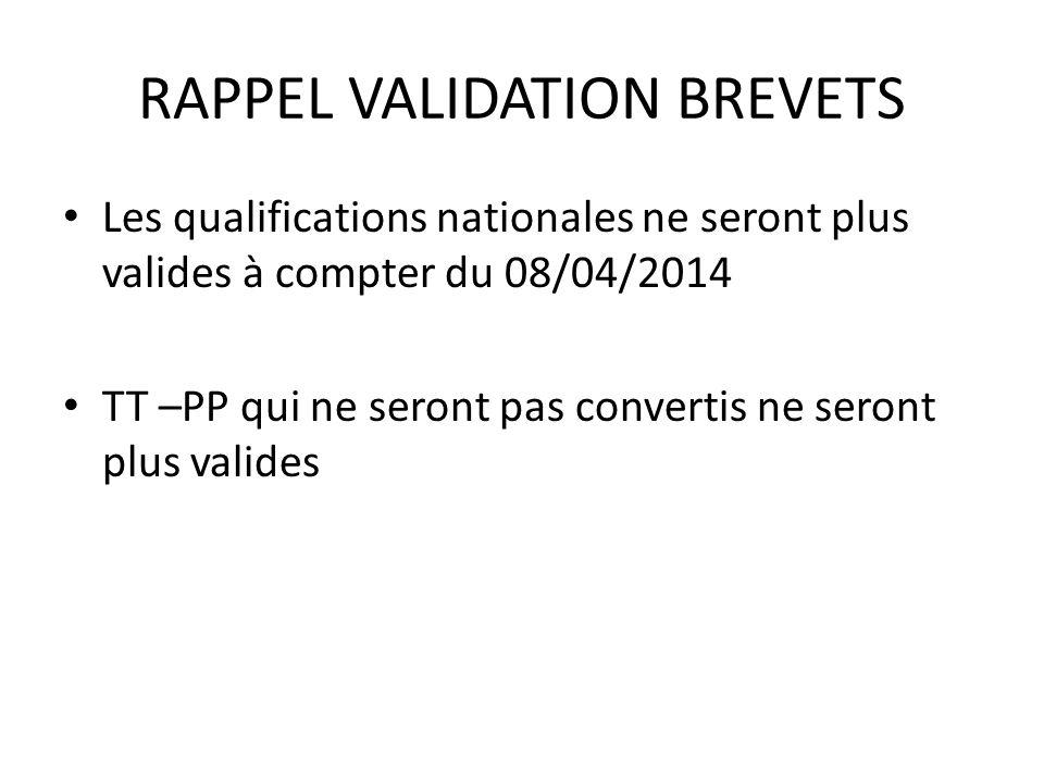 RAPPEL VALIDATION BREVETS Les qualifications nationales ne seront plus valides à compter du 08/04/2014 TT –PP qui ne seront pas convertis ne seront plus valides