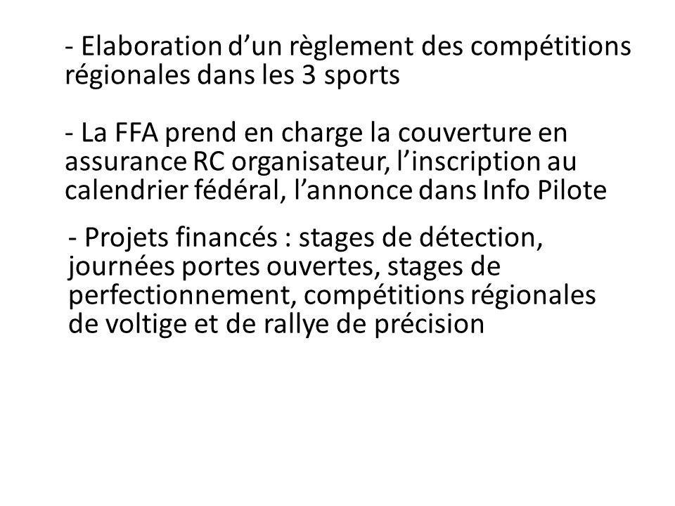 - Elaboration dun règlement des compétitions régionales dans les 3 sports - La FFA prend en charge la couverture en assurance RC organisateur, linscri