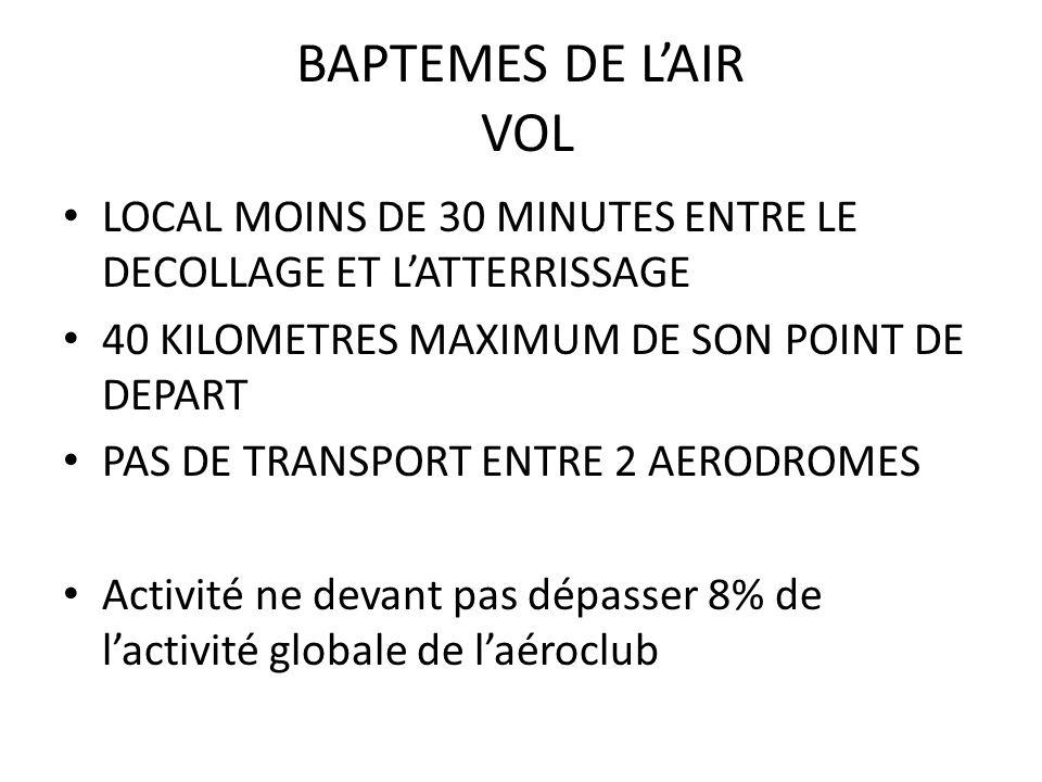 BAPTEMES DE LAIR VOL LOCAL MOINS DE 30 MINUTES ENTRE LE DECOLLAGE ET LATTERRISSAGE 40 KILOMETRES MAXIMUM DE SON POINT DE DEPART PAS DE TRANSPORT ENTRE 2 AERODROMES Activité ne devant pas dépasser 8% de lactivité globale de laéroclub