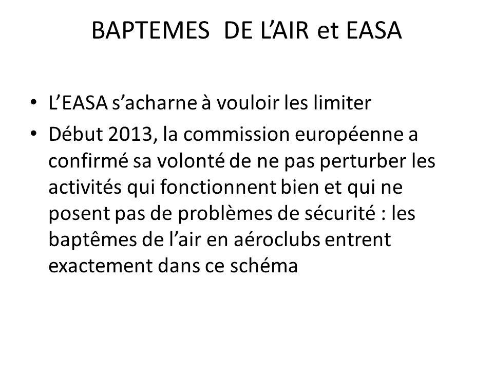 BAPTEMES DE LAIR et EASA LEASA sacharne à vouloir les limiter Début 2013, la commission européenne a confirmé sa volonté de ne pas perturber les activités qui fonctionnent bien et qui ne posent pas de problèmes de sécurité : les baptêmes de lair en aéroclubs entrent exactement dans ce schéma