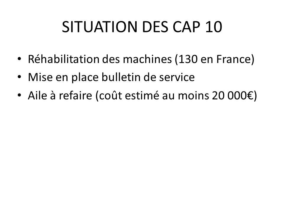 SITUATION DES CAP 10 Réhabilitation des machines (130 en France) Mise en place bulletin de service Aile à refaire (coût estimé au moins 20 000)