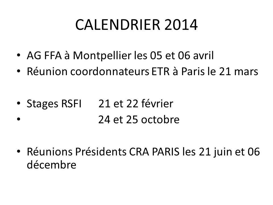 CALENDRIER 2014 AG FFA à Montpellier les 05 et 06 avril Réunion coordonnateurs ETR à Paris le 21 mars Stages RSFI 21 et 22 février 24 et 25 octobre Réunions Présidents CRA PARIS les 21 juin et 06 décembre