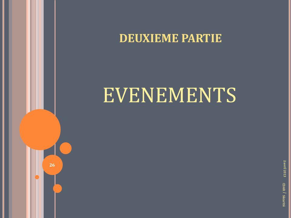 DEUXIEME PARTIE EVENEMENTS CDAR / Sécurité 2 avril 2013 26