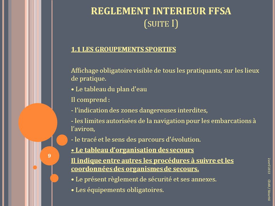 REGLEMENT INTERIEUR FFSA ( SUITE I) 1.1 LES GROUPEMENTS SPORTIFS Affichage obligatoire visible de tous les pratiquants, sur les lieux de pratique.