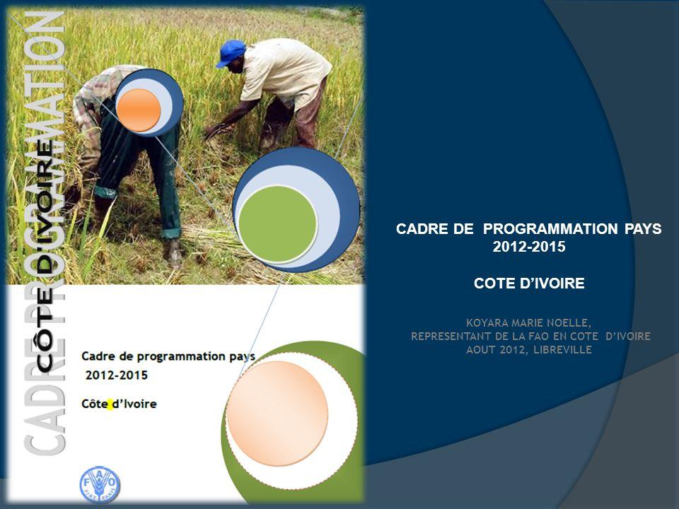 Revue du NMTPF 2009-2013 combinée à la formulation du CPP 2012-2015 pour garantir sa prise en compte dans lUNDAF en cours dactualisation et conforter le leadership de la FAO en Côte dIvoire marqué par son rôle de chef de fil des PTF du secteur agriculture et développement rurale dans le cadre de la mise en œuvre du PNIA et du PND.