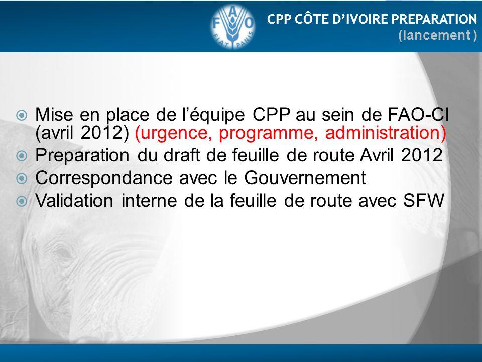 Mise en place de léquipe CPP au sein de FAO-CI (avril 2012) (urgence, programme, administration) Preparation du draft de feuille de route Avril 2012 C