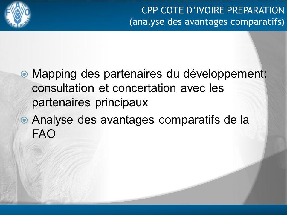 CPP COTE DIVOIRE PREPARATION (analyse des avantages comparatifs ) Mapping des partenaires du développement: consultation et concertation avec les part
