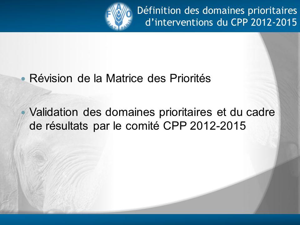 Révision de la Matrice des Priorités Validation des domaines prioritaires et du cadre de résultats par le comité CPP 2012-2015 Définition des domaines