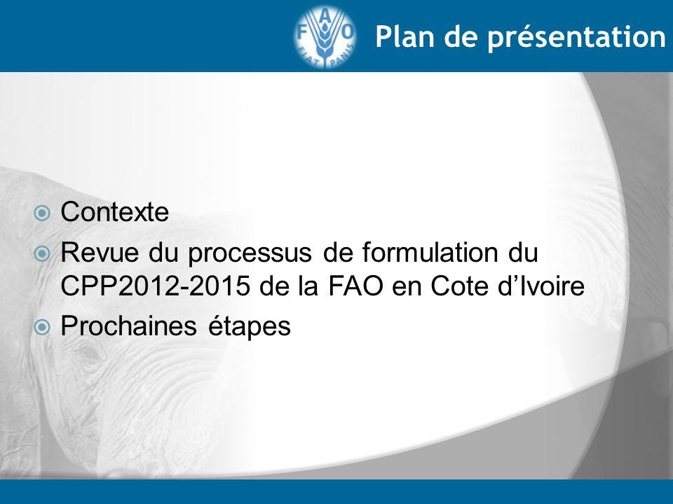 Mise en place de léquipe CPP au sein de FAO-CI (avril 2012) (urgence, programme, administration) Preparation du draft de feuille de route Avril 2012 Correspondance avec le Gouvernement Validation interne de la feuille de route avec SFW