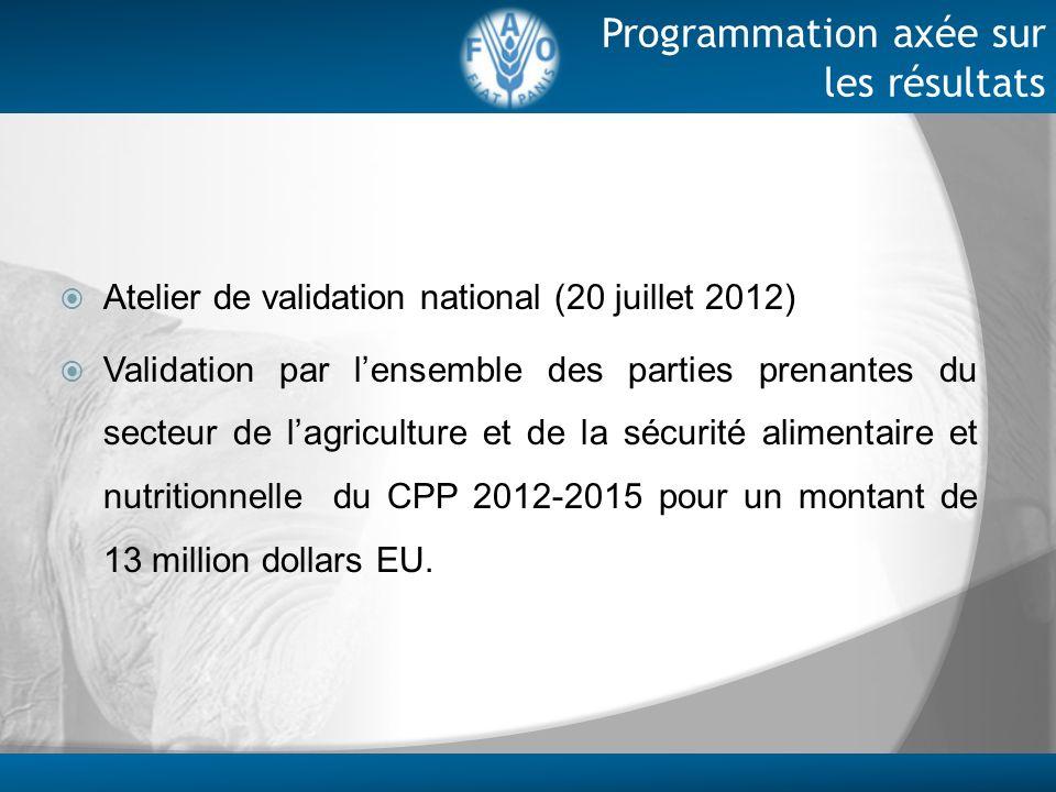 Programmation axée sur les résultats Atelier de validation national (20 juillet 2012) Validation par lensemble des parties prenantes du secteur de lag