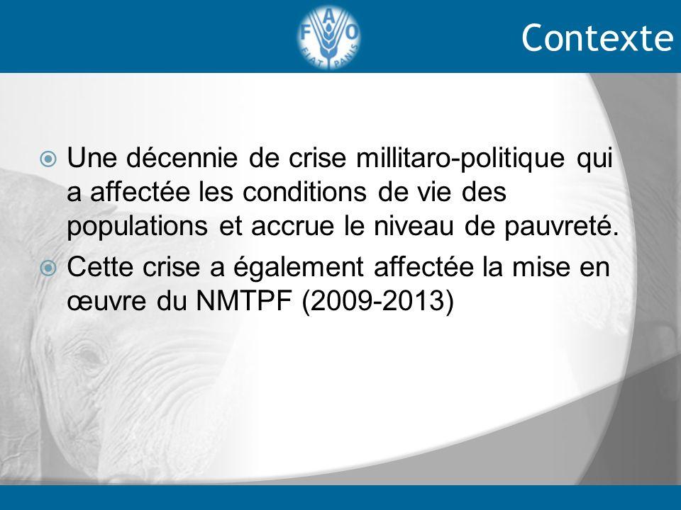 cependant les acquis suivants du NMTPF sont à relever: Renforcement des capacités des parties prenantes du secteur de lagriculture et de la sécurité alimentaire et nutritionnelle( équipement du CNRA, de lANOPACI, du FIRCA) Contexte