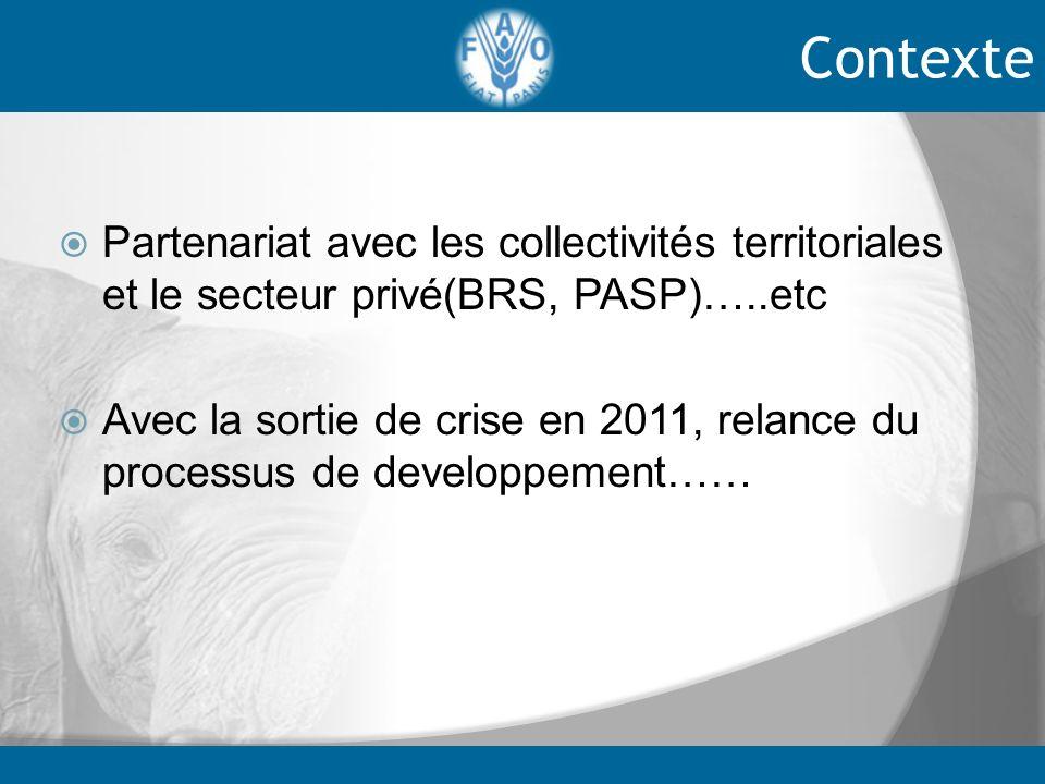 Partenariat avec les collectivités territoriales et le secteur privé(BRS, PASP)…..etc Avec la sortie de crise en 2011, relance du processus de develop