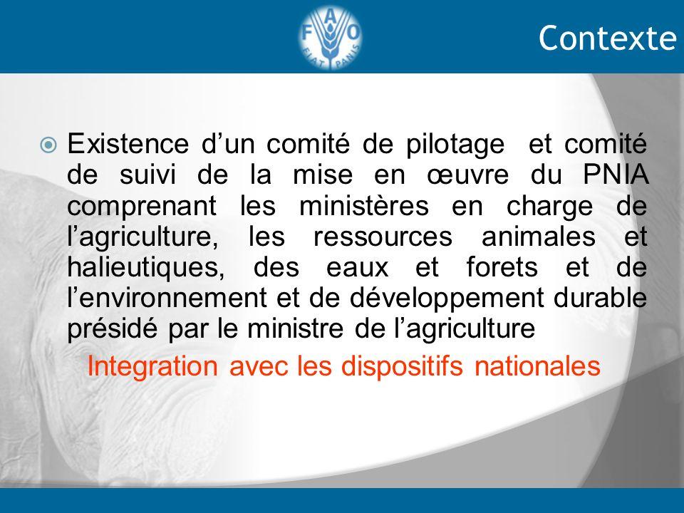 Existence dun comité de pilotage et comité de suivi de la mise en œuvre du PNIA comprenant les ministères en charge de lagriculture, les ressources an