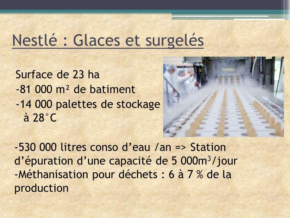Nestlé : Glaces et surgelés Surface de 23 ha -81 000 m² de batiment -14 000 palettes de stockage à 28°C -530 000 litres conso deau /an => Station dépu