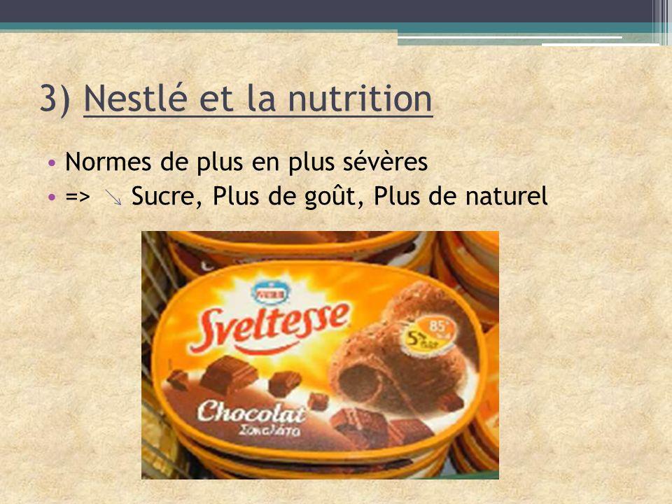 3) Nestlé et la nutrition Normes de plus en plus sévères => Sucre, Plus de goût, Plus de naturel