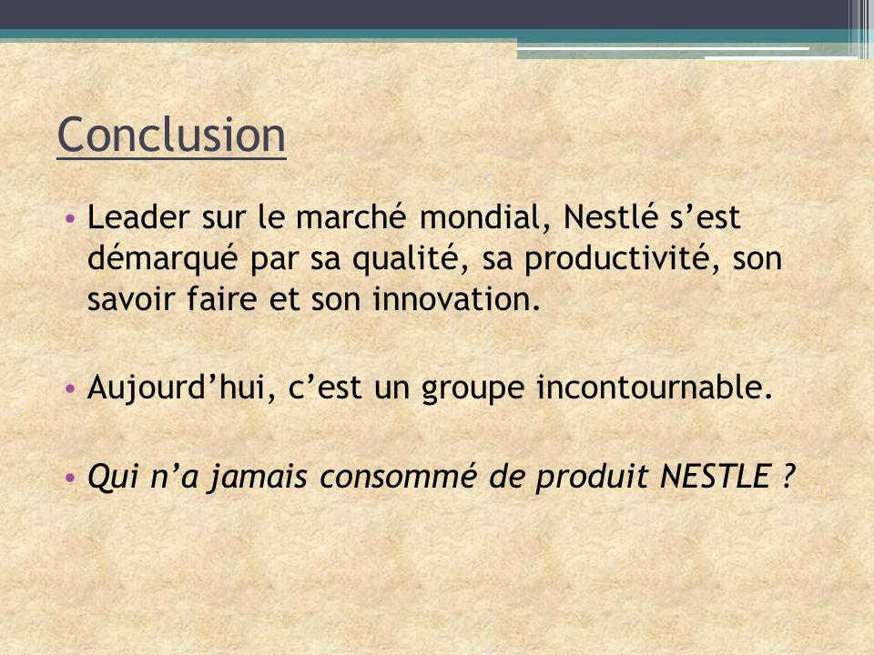Conclusion Leader sur le marché mondial, Nestlé sest démarqué par sa qualité, sa productivité, son savoir faire et son innovation. Aujourdhui, cest un