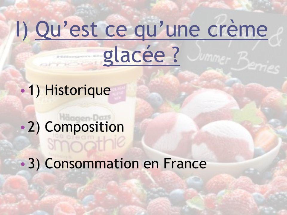I) Quest ce quune crème glacée ? 1) Historique 2) Composition 3) Consommation en France