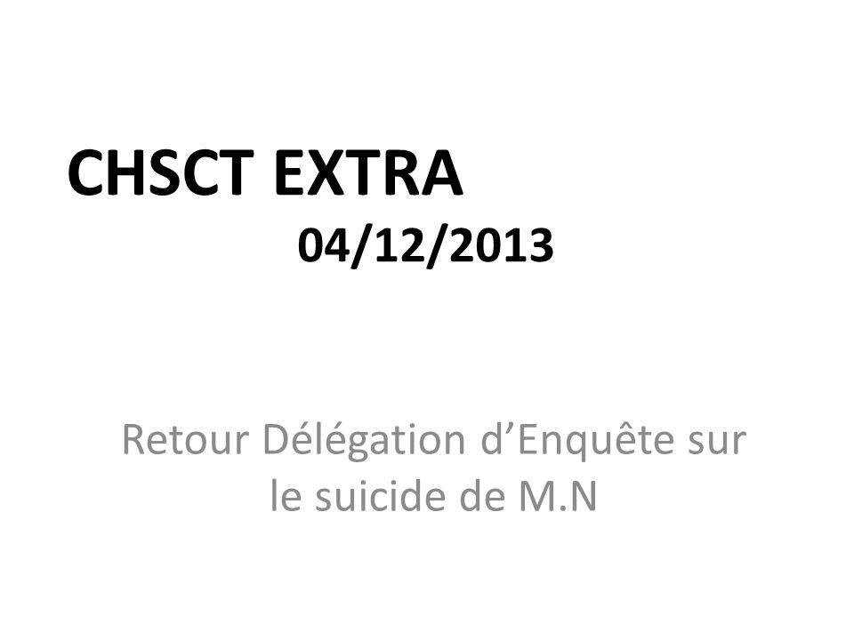 CHSCT EXTRA 04/12/2013 Retour Délégation dEnquête sur le suicide de M.N