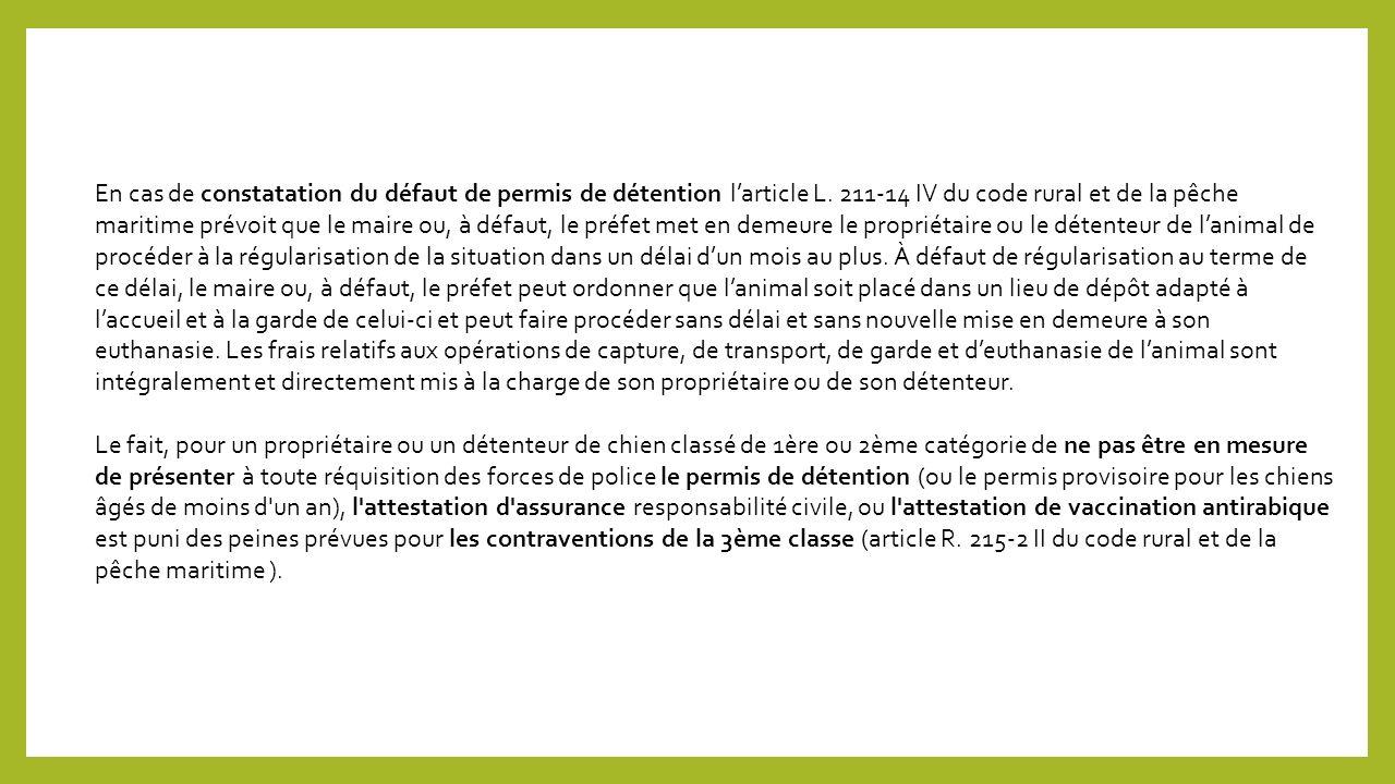 En cas de constatation du défaut de permis de détention larticle L.