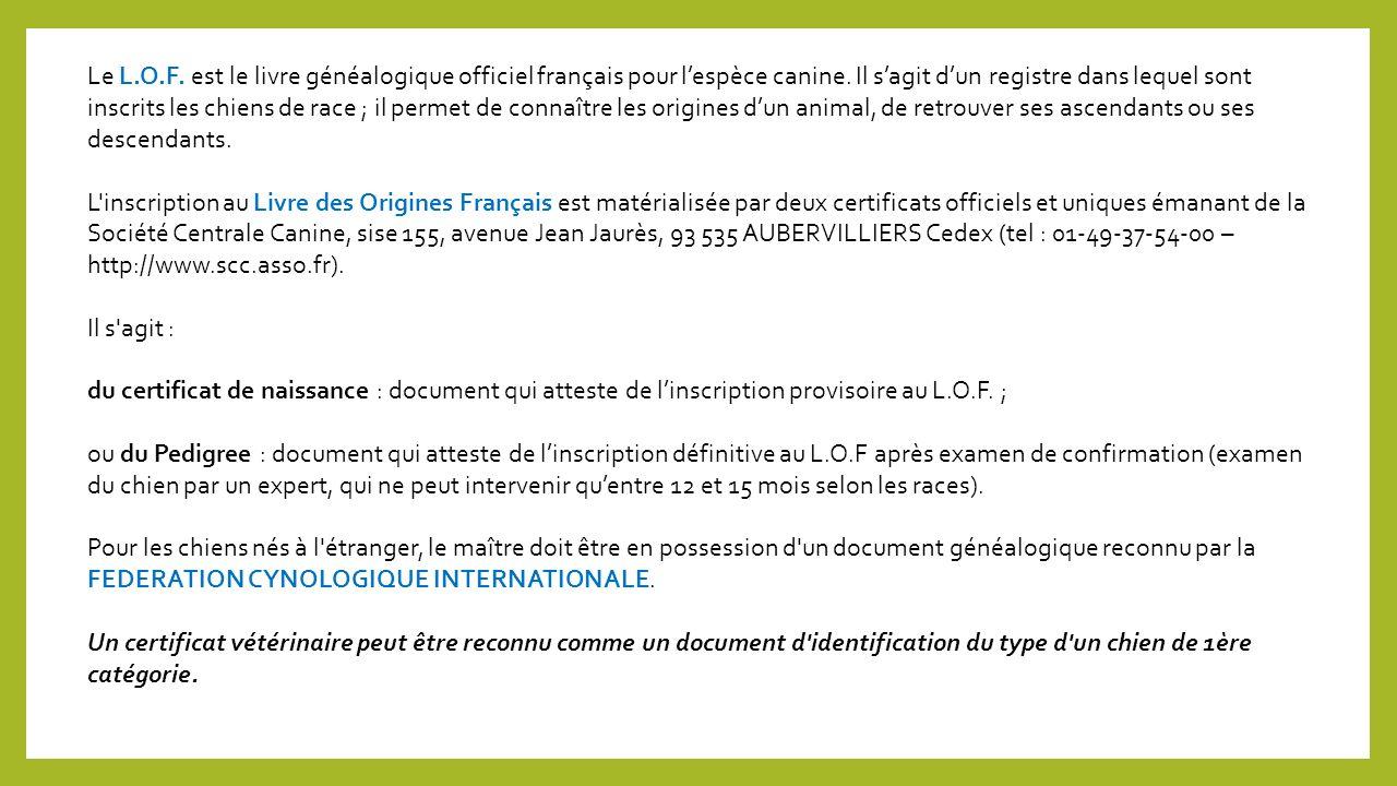 Le L.O.F.est le livre généalogique officiel français pour lespèce canine.