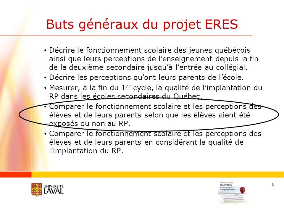 8 Buts généraux du projet ERES Décrire le fonctionnement scolaire des jeunes québécois ainsi que leurs perceptions de lenseignement depuis la fin de la deuxième secondaire jusquà lentrée au collégial.