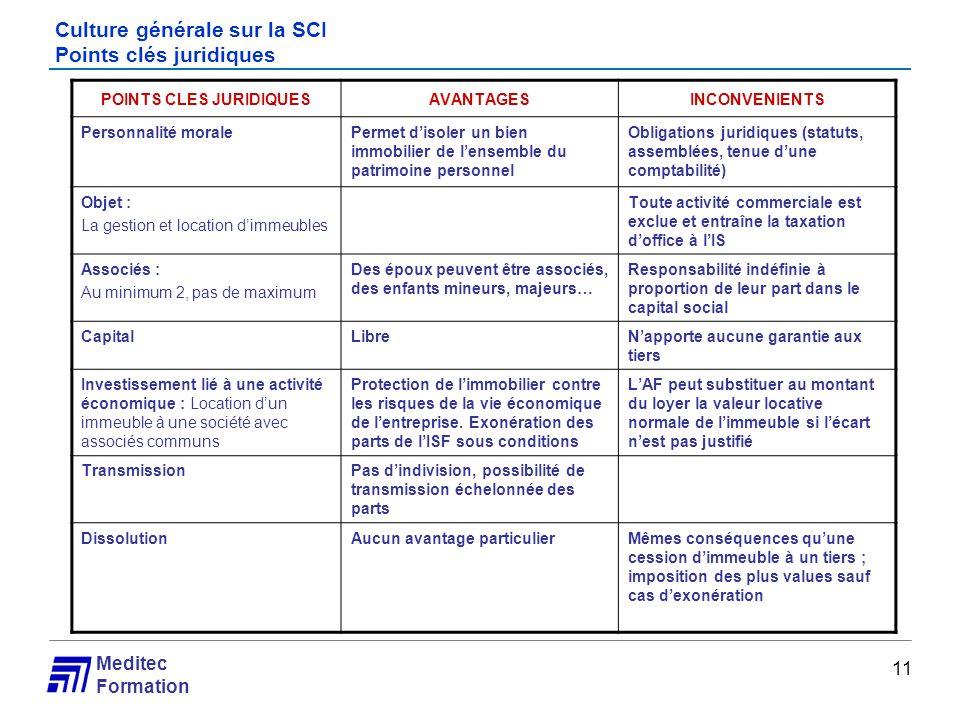 Meditec Formation Culture générale sur la SCI Points clés juridiques 11 POINTS CLES JURIDIQUESAVANTAGESINCONVENIENTS Personnalité moralePermet disoler