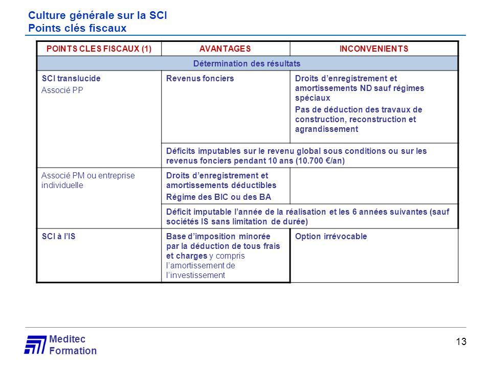 Meditec Formation Culture générale sur la SCI Points clés fiscaux 13 POINTS CLES FISCAUX (1)AVANTAGESINCONVENIENTS Détermination des résultats SCI tra