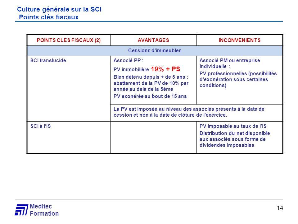 Meditec Formation Culture générale sur la SCI Points clés fiscaux 14 POINTS CLES FISCAUX (2)AVANTAGESINCONVENIENTS Cessions dimmeubles SCI translucide